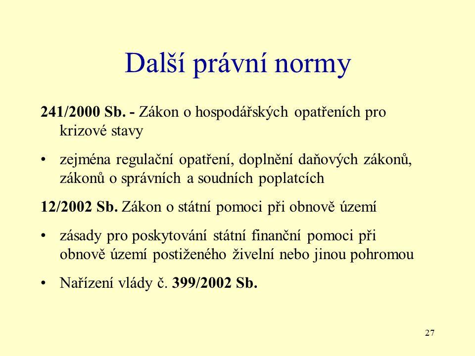 Další právní normy 241/2000 Sb. - Zákon o hospodářských opatřeních pro krizové stavy.
