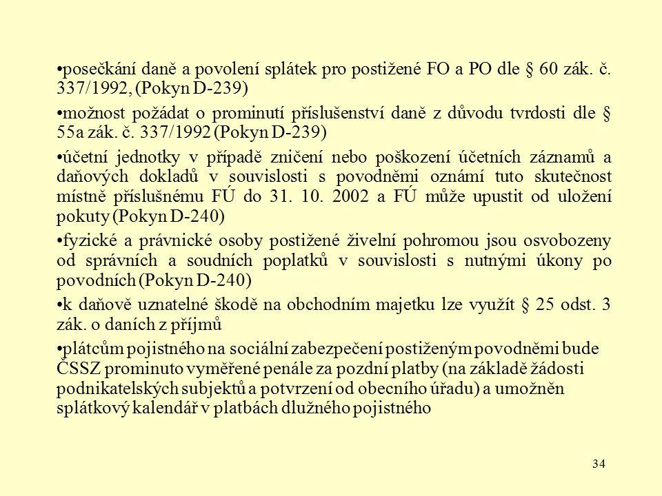 posečkání daně a povolení splátek pro postižené FO a PO dle § 60 zák. č. 337/1992, (Pokyn D-239)