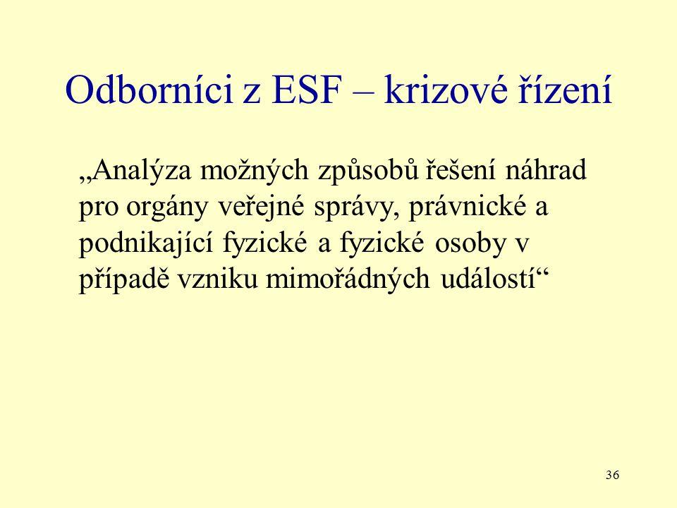 Odborníci z ESF – krizové řízení