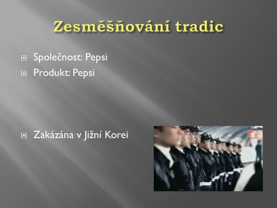 Zesměšňování tradic Společnost: Pepsi Produkt: Pepsi