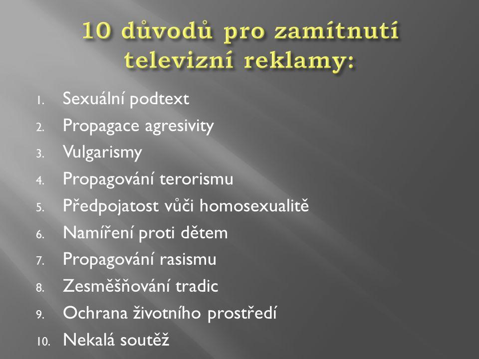 10 důvodů pro zamítnutí televizní reklamy: