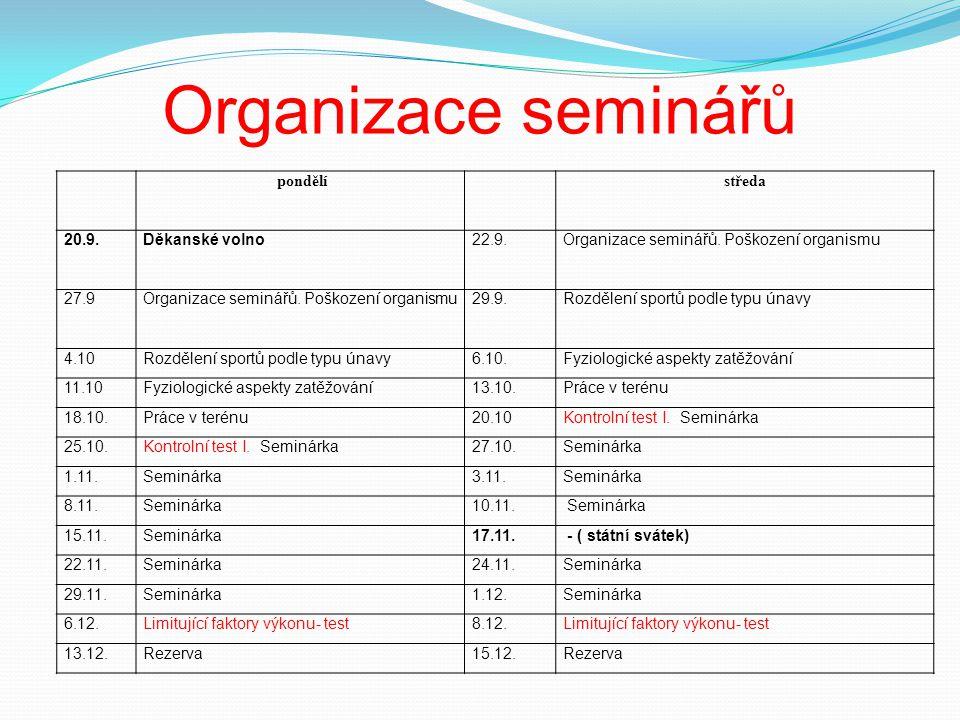 Organizace seminářů pondělí středa 20.9. Děkanské volno 22.9.