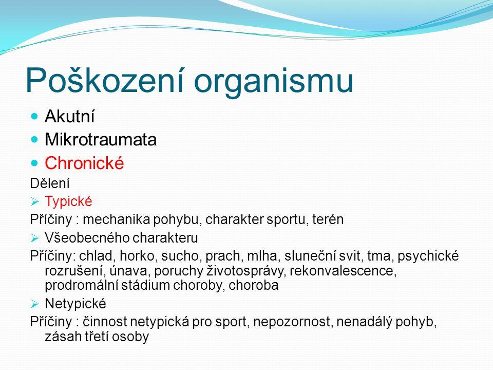 Poškození organismu Akutní Mikrotraumata Chronické Dělení Typické