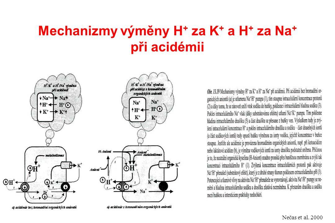 Mechanizmy výměny H+ za K+ a H+ za Na+ při acidémii