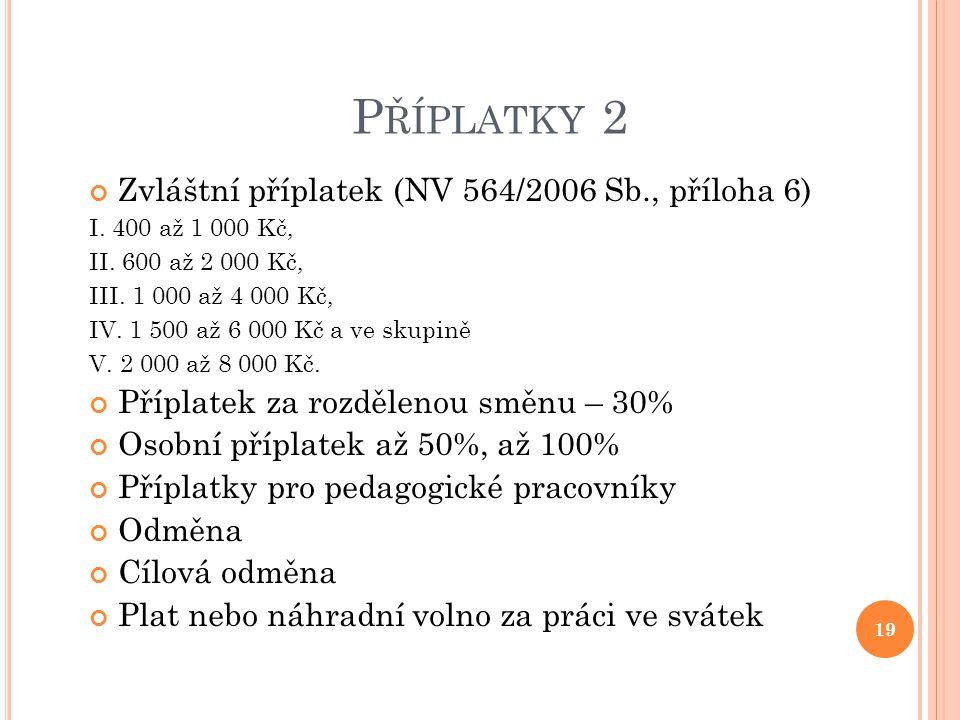 Příplatky 2 Zvláštní příplatek (NV 564/2006 Sb., příloha 6)