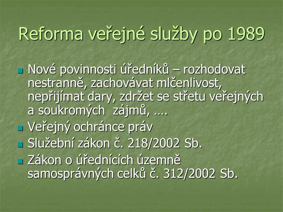 Reforma veřejné služby po 1989