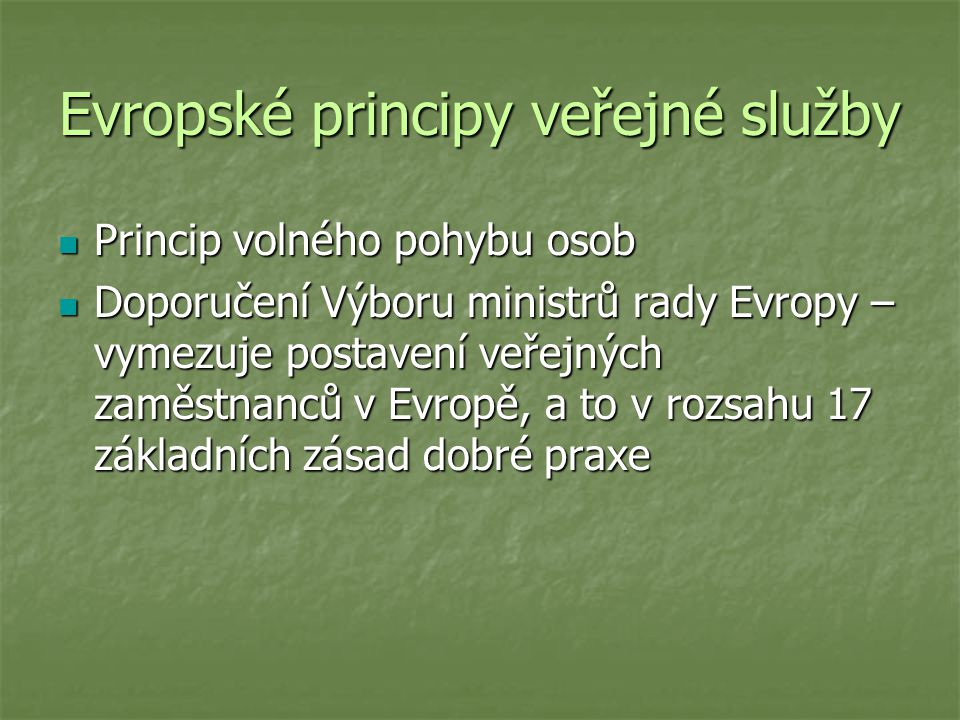 Evropské principy veřejné služby