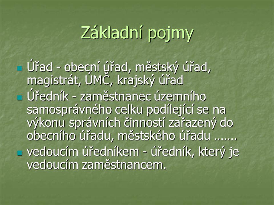 Základní pojmy Úřad - obecní úřad, městský úřad, magistrát, ÚMČ, krajský úřad.