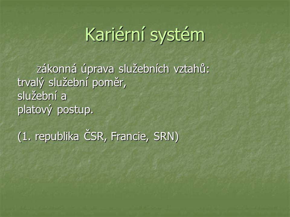 Kariérní systém trvalý služební poměr, služební a platový postup.