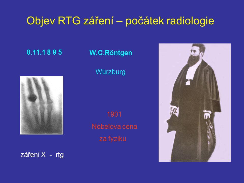 Objev RTG záření – počátek radiologie