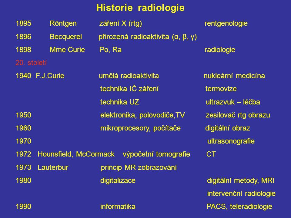 Historie radiologie Röntgen záření X (rtg) rentgenologie