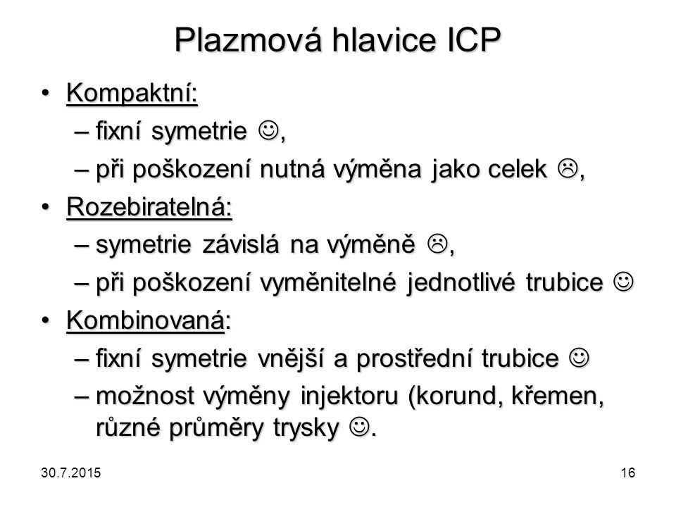 Plazmová hlavice ICP Kompaktní: fixní symetrie ,