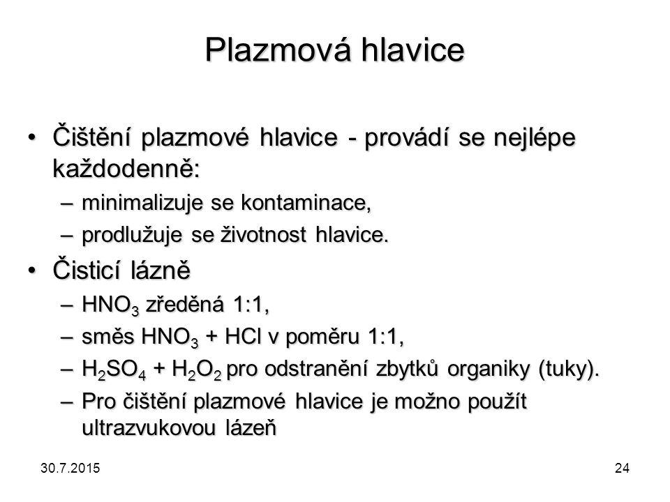 Plazmová hlavice Čištění plazmové hlavice - provádí se nejlépe každodenně: minimalizuje se kontaminace,
