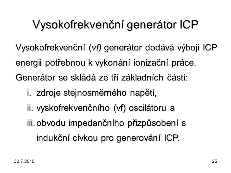 Vysokofrekvenční generátor ICP