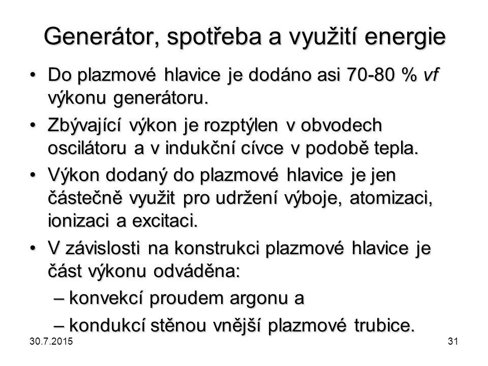 Generátor, spotřeba a využití energie