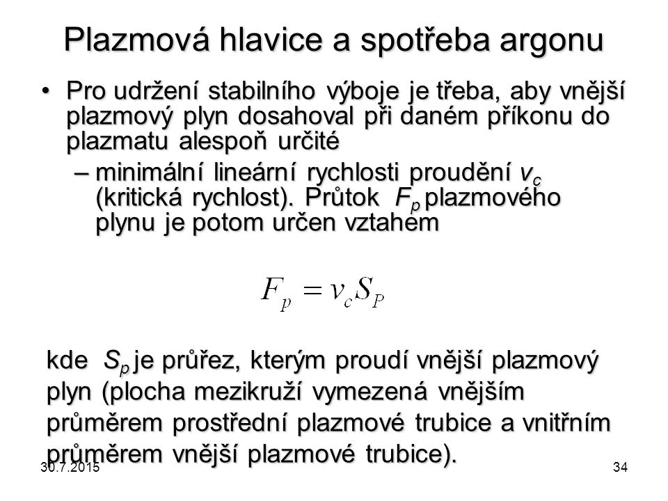 Plazmová hlavice a spotřeba argonu
