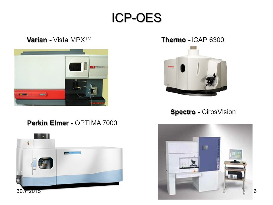 ICP-OES Varian - Vista MPXTM Thermo - iCAP 6300 Spectro - CirosVision