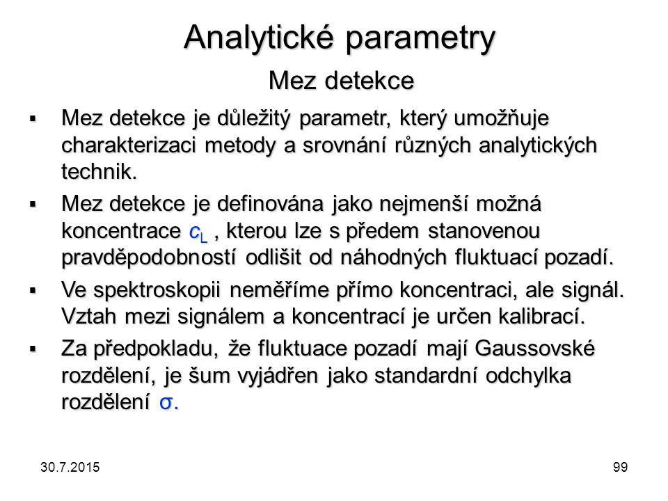 Analytické parametry Mez detekce