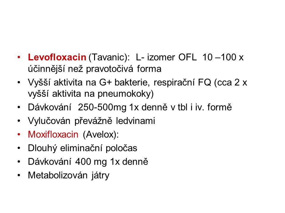 Levofloxacin (Tavanic): L- izomer OFL 10 –100 x účinnější než pravotočivá forma