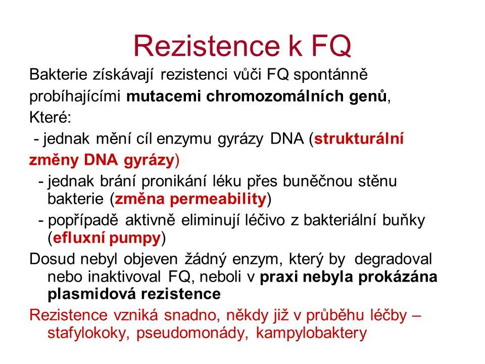 Rezistence k FQ Bakterie získávají rezistenci vůči FQ spontánně