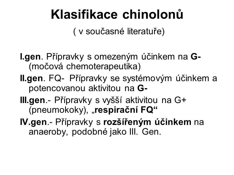 Klasifikace chinolonů ( v současné literatuře)