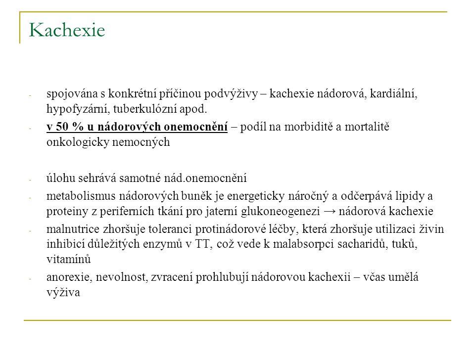 Kachexie spojována s konkrétní příčinou podvýživy – kachexie nádorová, kardiální, hypofyzární, tuberkulózní apod.