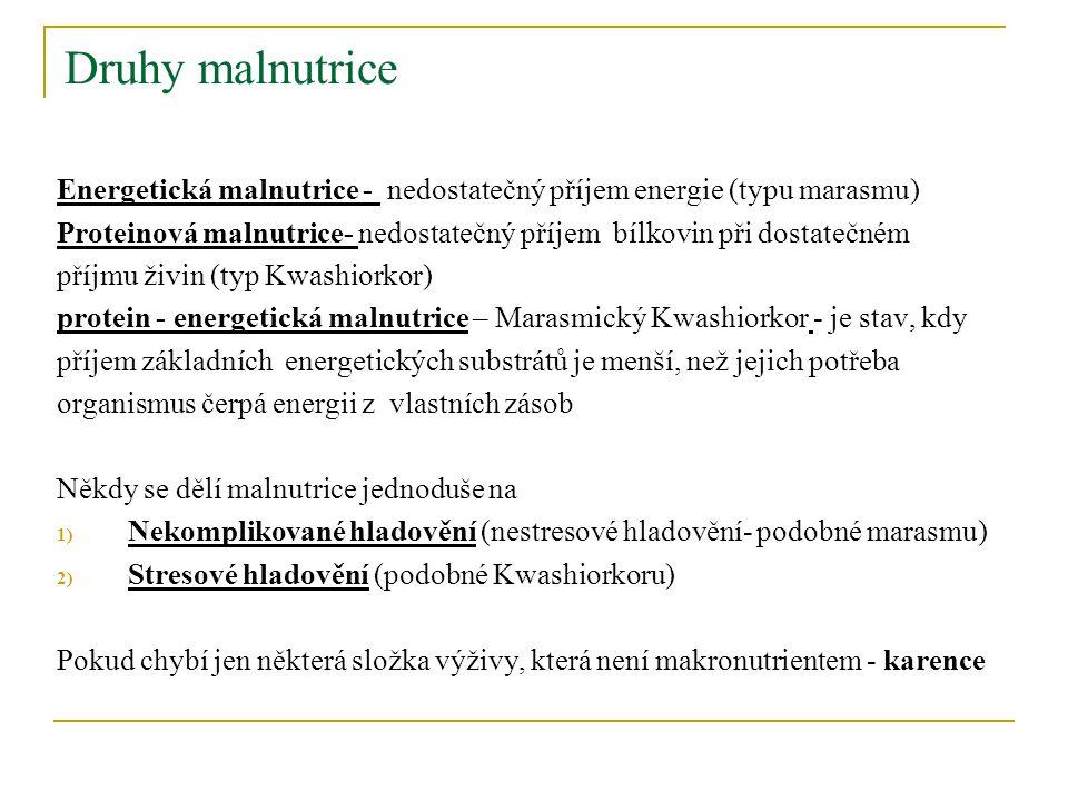 Druhy malnutrice Energetická malnutrice - nedostatečný příjem energie (typu marasmu)