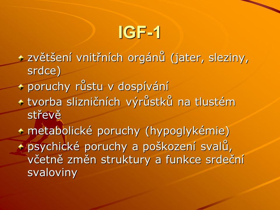 IGF-1 zvětšení vnitřních orgánů (jater, sleziny, srdce)