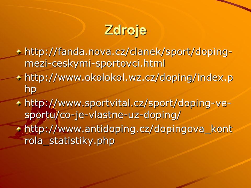 Zdroje http://fanda.nova.cz/clanek/sport/doping-mezi-ceskymi-sportovci.html. http://www.okolokol.wz.cz/doping/index.php.