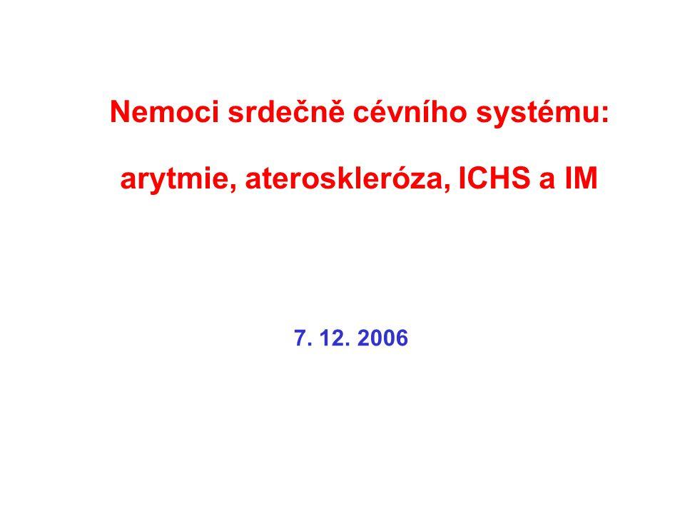 Nemoci srdečně cévního systému: arytmie, ateroskleróza, ICHS a IM