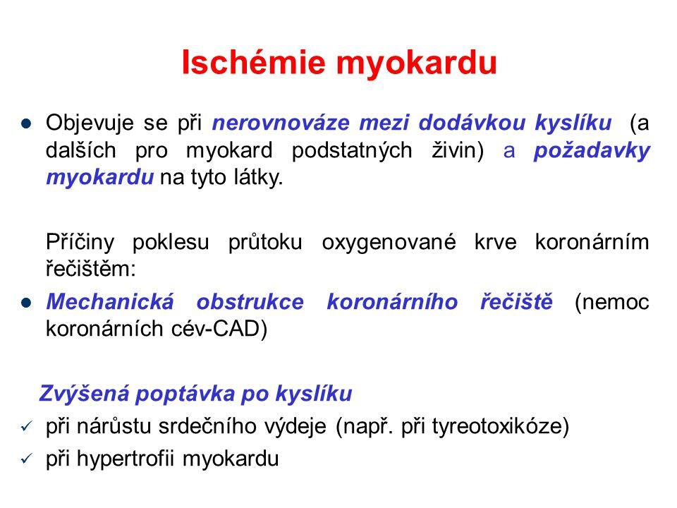 Ischémie myokardu Objevuje se při nerovnováze mezi dodávkou kyslíku (a dalších pro myokard podstatných živin) a požadavky myokardu na tyto látky.
