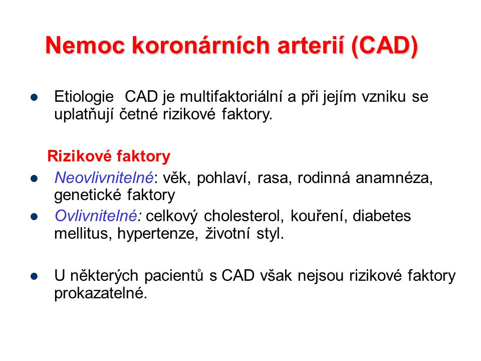 Nemoc koronárních arterií (CAD)