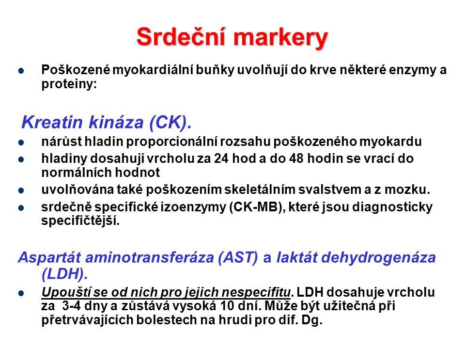 Srdeční markery Poškozené myokardiální buňky uvolňují do krve některé enzymy a proteiny: Kreatin kináza (CK).