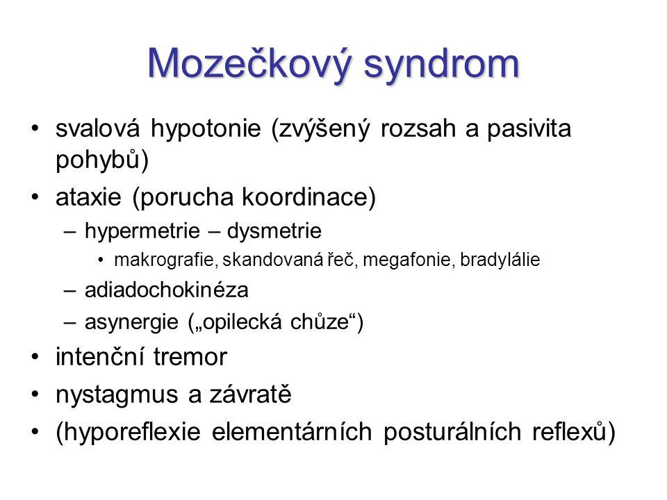Mozečkový syndrom svalová hypotonie (zvýšený rozsah a pasivita pohybů)