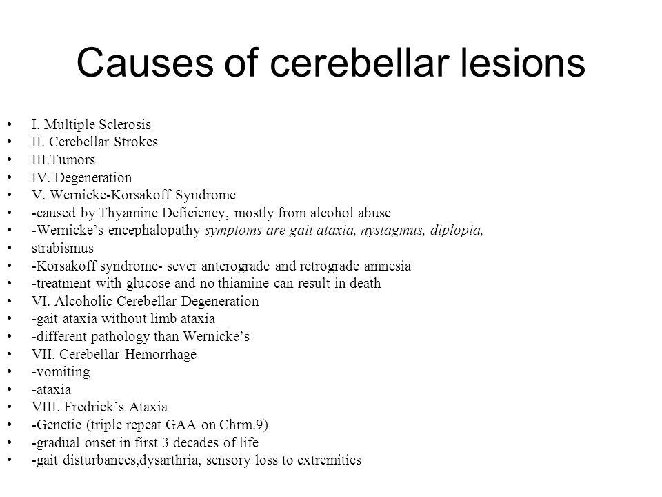 Causes of cerebellar lesions