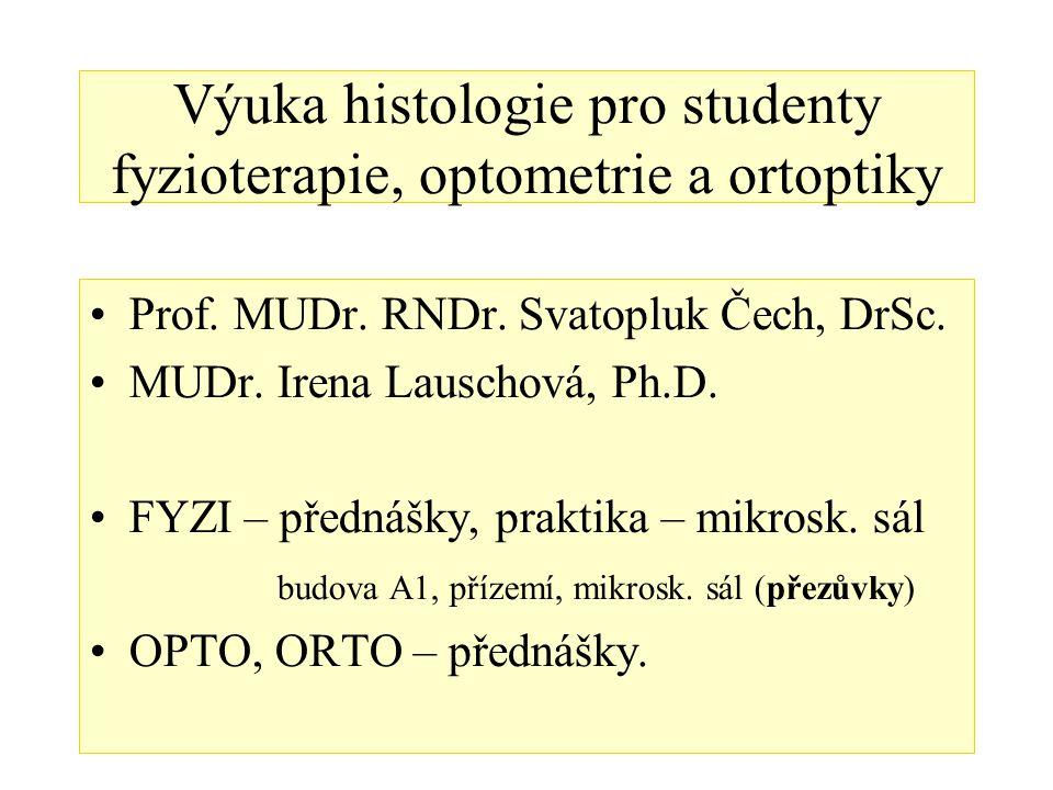 Výuka histologie pro studenty fyzioterapie, optometrie a ortoptiky