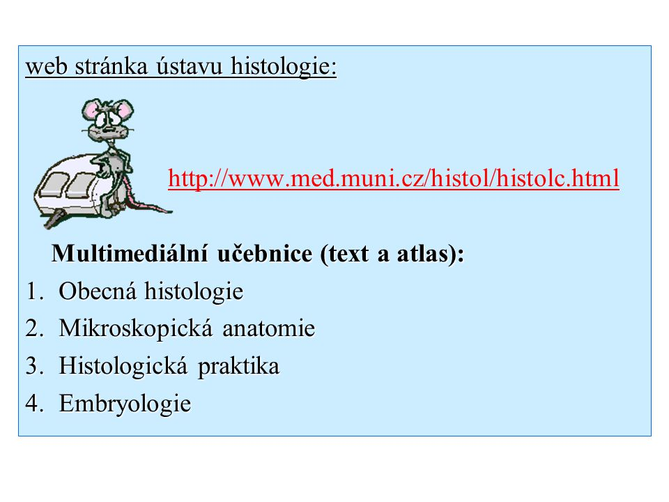 web stránka ústavu histologie: