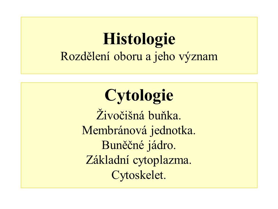 Histologie Rozdělení oboru a jeho význam