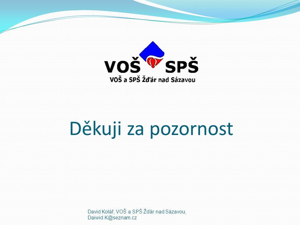 Děkuji za pozornost David Kolář, VOŠ a SPŠ Žďár nad Sázavou, Daiwid.K@seznam.cz