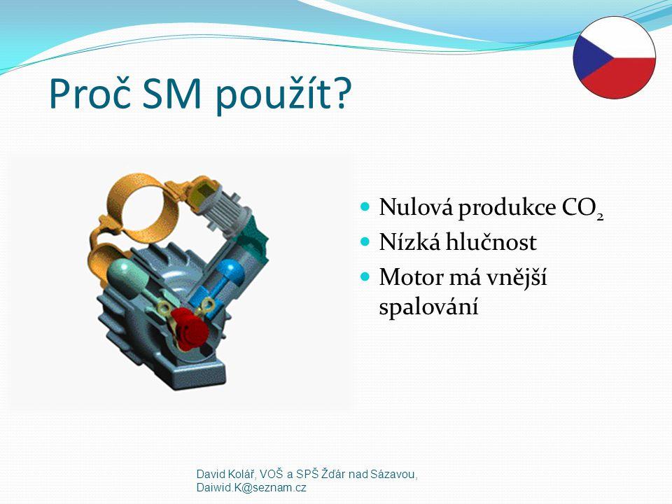 Proč SM použít Nulová produkce CO2 Nízká hlučnost