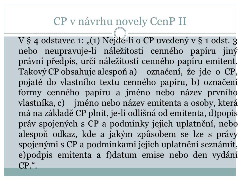 CP v návrhu novely CenP II