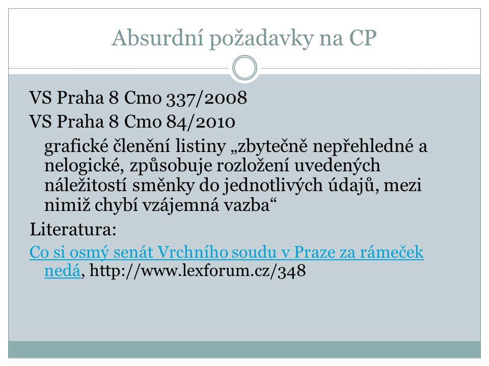 Absurdní požadavky na CP