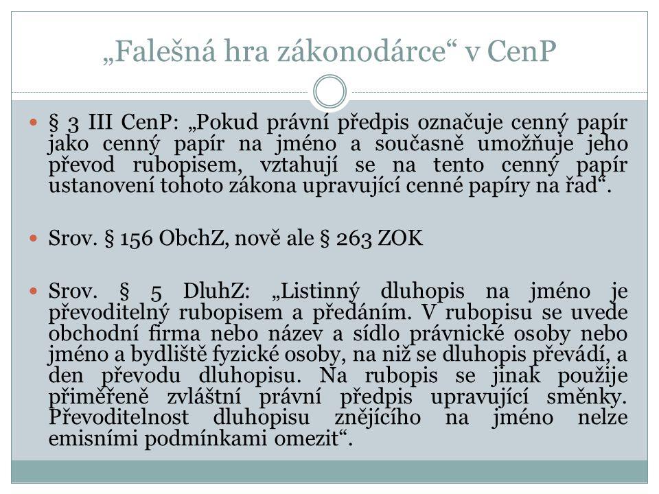 """""""Falešná hra zákonodárce v CenP"""