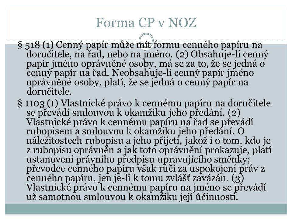 Forma CP v NOZ