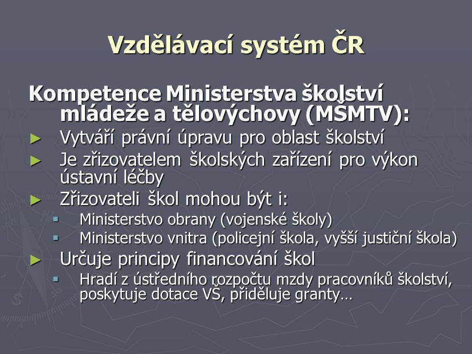 Vzdělávací systém ČR Kompetence Ministerstva školství mládeže a tělovýchovy (MŠMTV): Vytváří právní úpravu pro oblast školství.