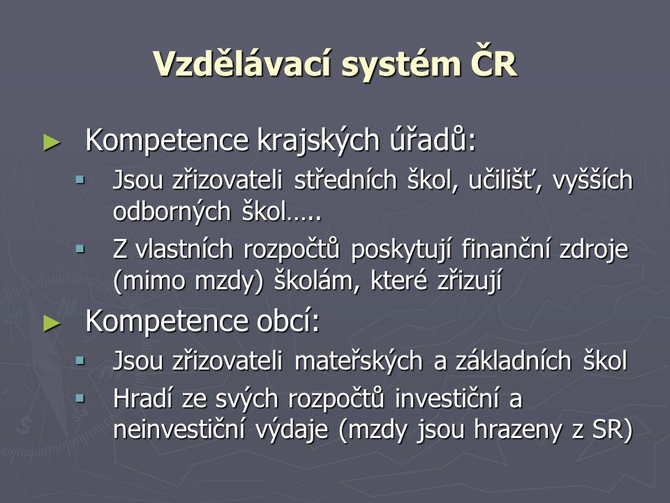 Vzdělávací systém ČR Kompetence krajských úřadů: Kompetence obcí: