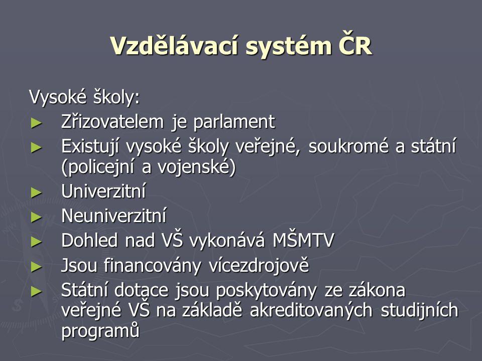 Vzdělávací systém ČR Vysoké školy: Zřizovatelem je parlament