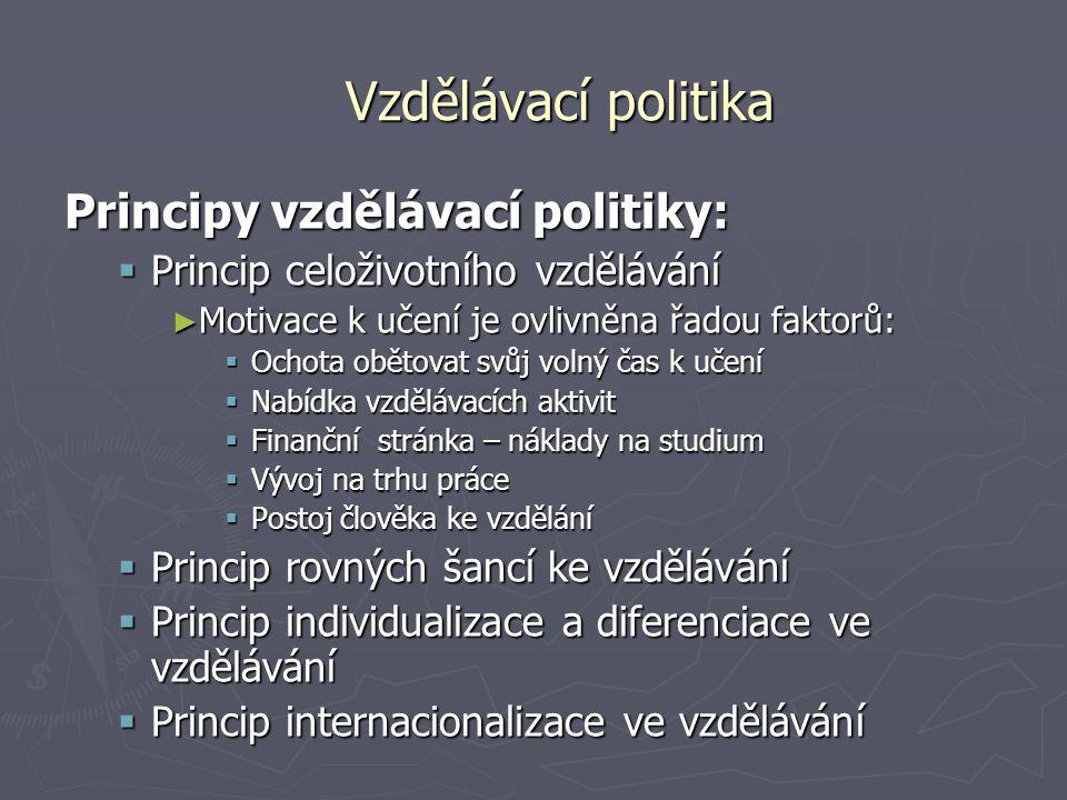 Vzdělávací politika Principy vzdělávací politiky: