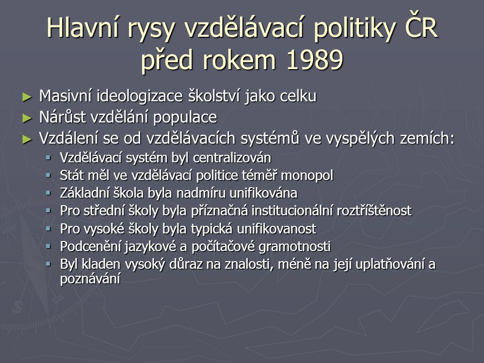 Hlavní rysy vzdělávací politiky ČR před rokem 1989