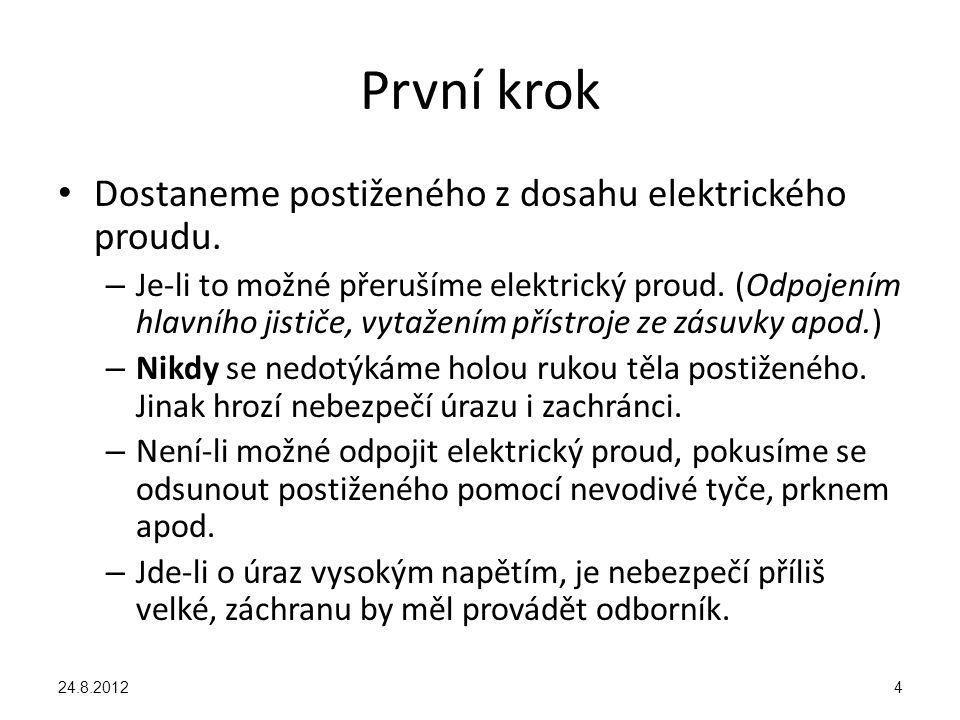 První krok Dostaneme postiženého z dosahu elektrického proudu.